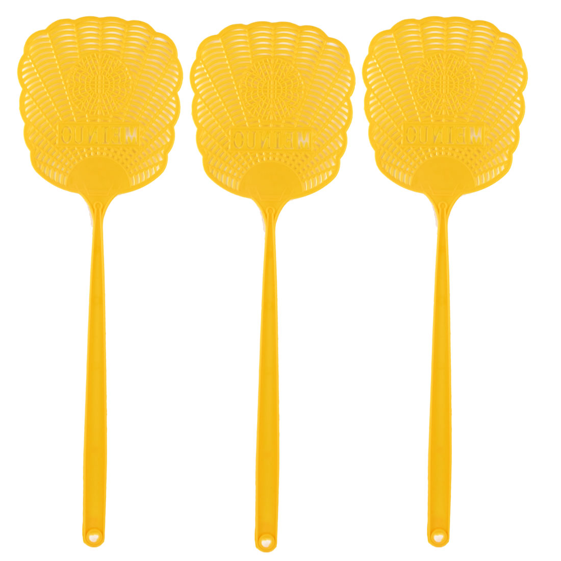 Yellow Plastic Hollow Out Flower Mosquito Cockroach Fly Swatter 3 Pcs