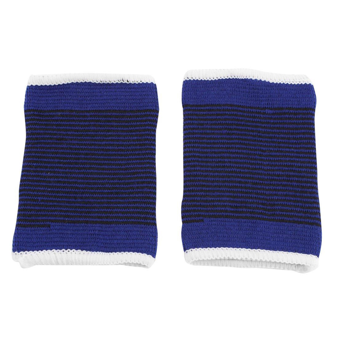 Sports Polyester Elastic Carpal Tunnel Support Sprain Band Strap Wrist Brace Blue 2 Pcs