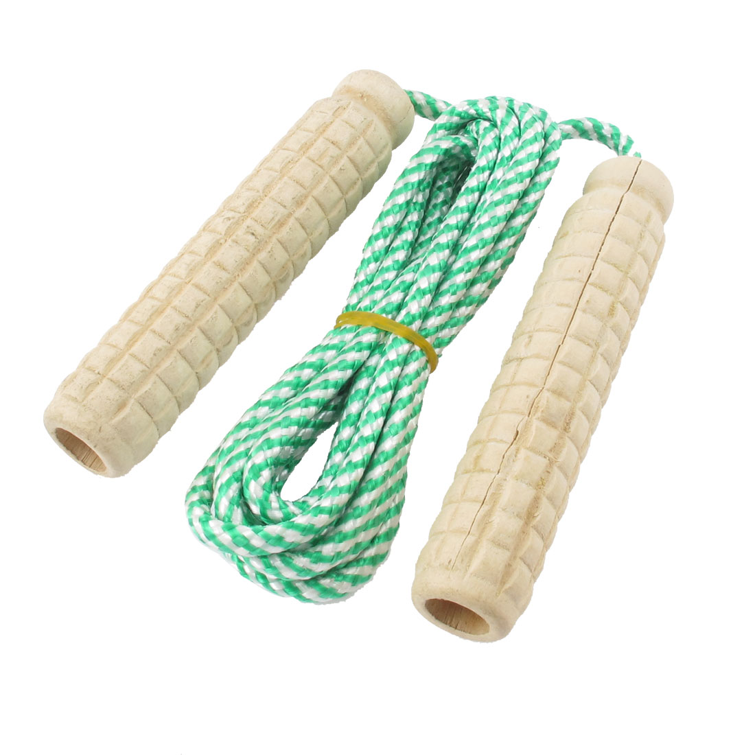 Green Nylon Stripe String Plastic Grip Jump Fitness Exercise Skipping Rope