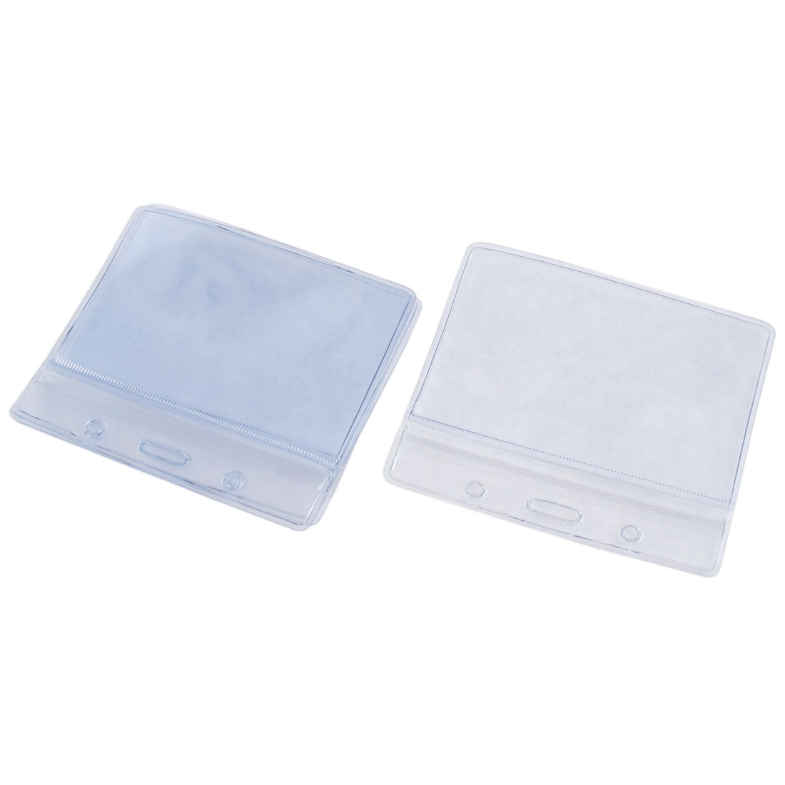 Transparent Soft Plastic Horizontal Badge Pocket Self Seal ID Card Holder 4 Pcs
