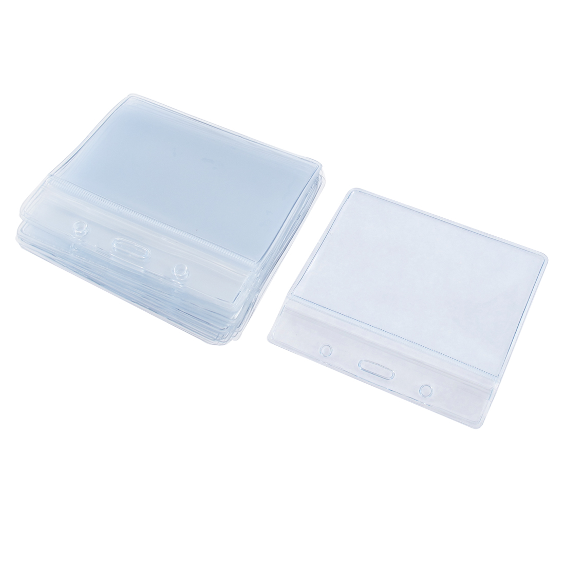 Transparent Soft Plastic Horizontal Badge Pocket Self Seal ID Card Holder 20 Pcs
