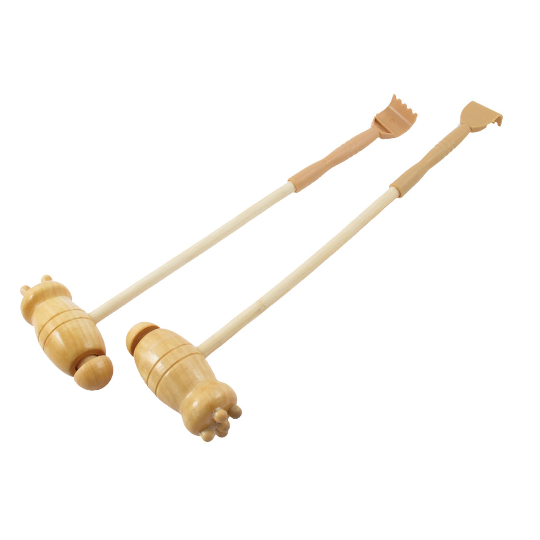 Plastic Wooden Double Head Scratcher Body Knock Massage Hammer 12'' Length 2 Pcs