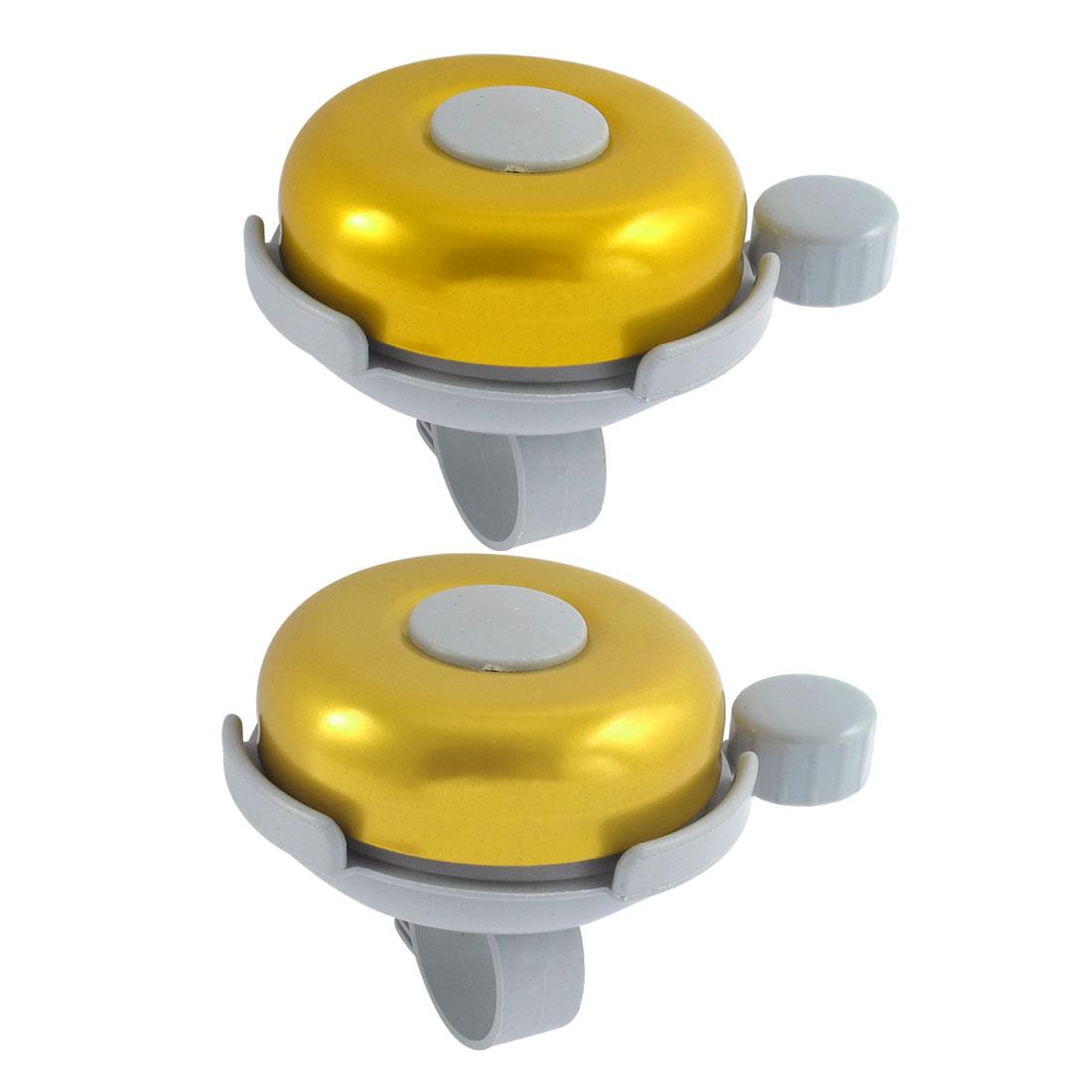 Gold Tone Aluminum Alloy Cycling Bicycle Handlebar Bar Loud Horn Bell Ring 2 Pcs