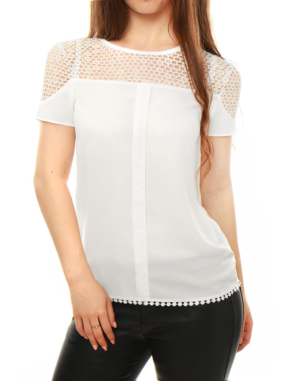 Allegra K Ladies Short Sleeve Round Neck Casual Top T-Shirt XS