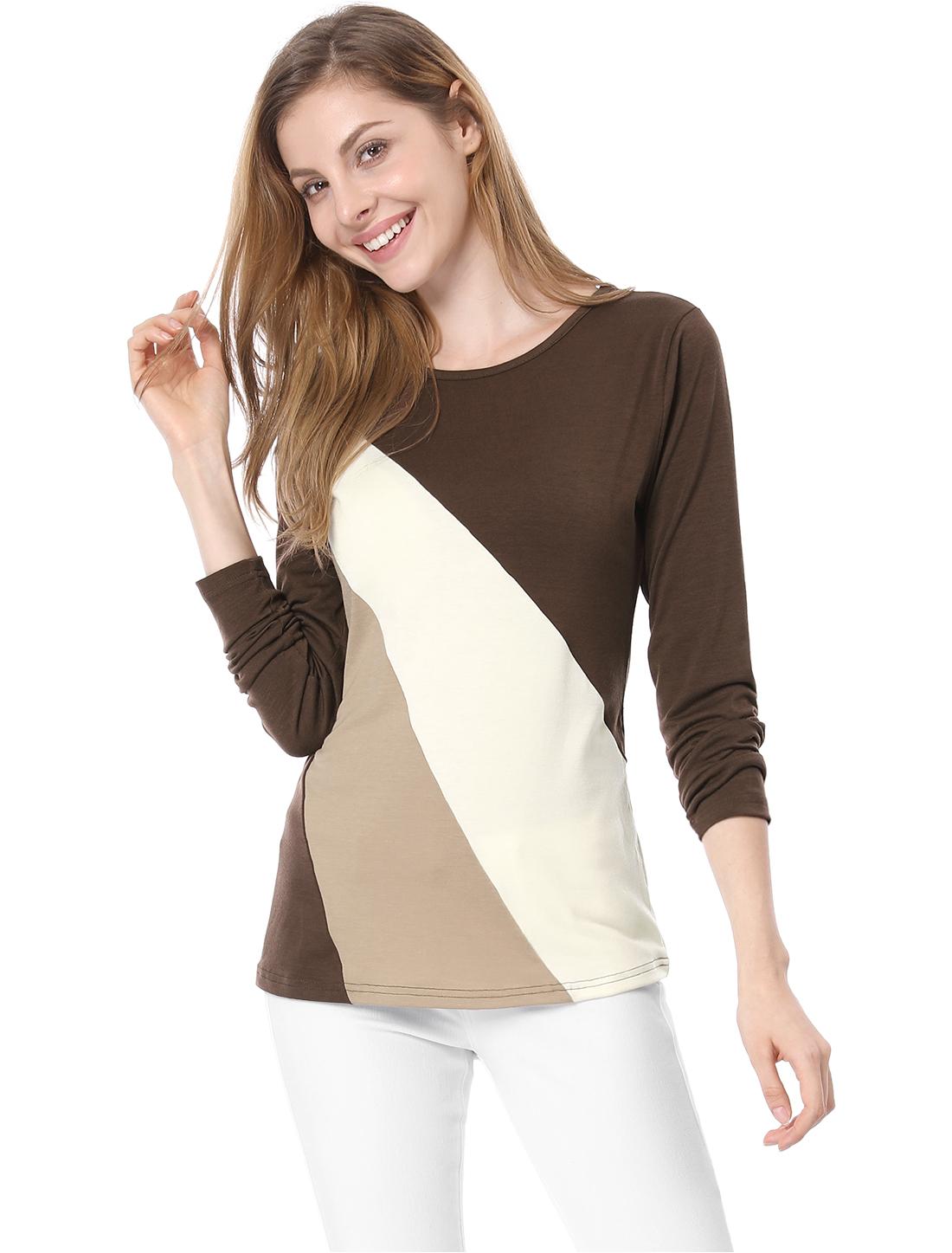 Allegra K Ladies Color Block Long Sleeve Slim Fit T Shirt Brown Beige XS