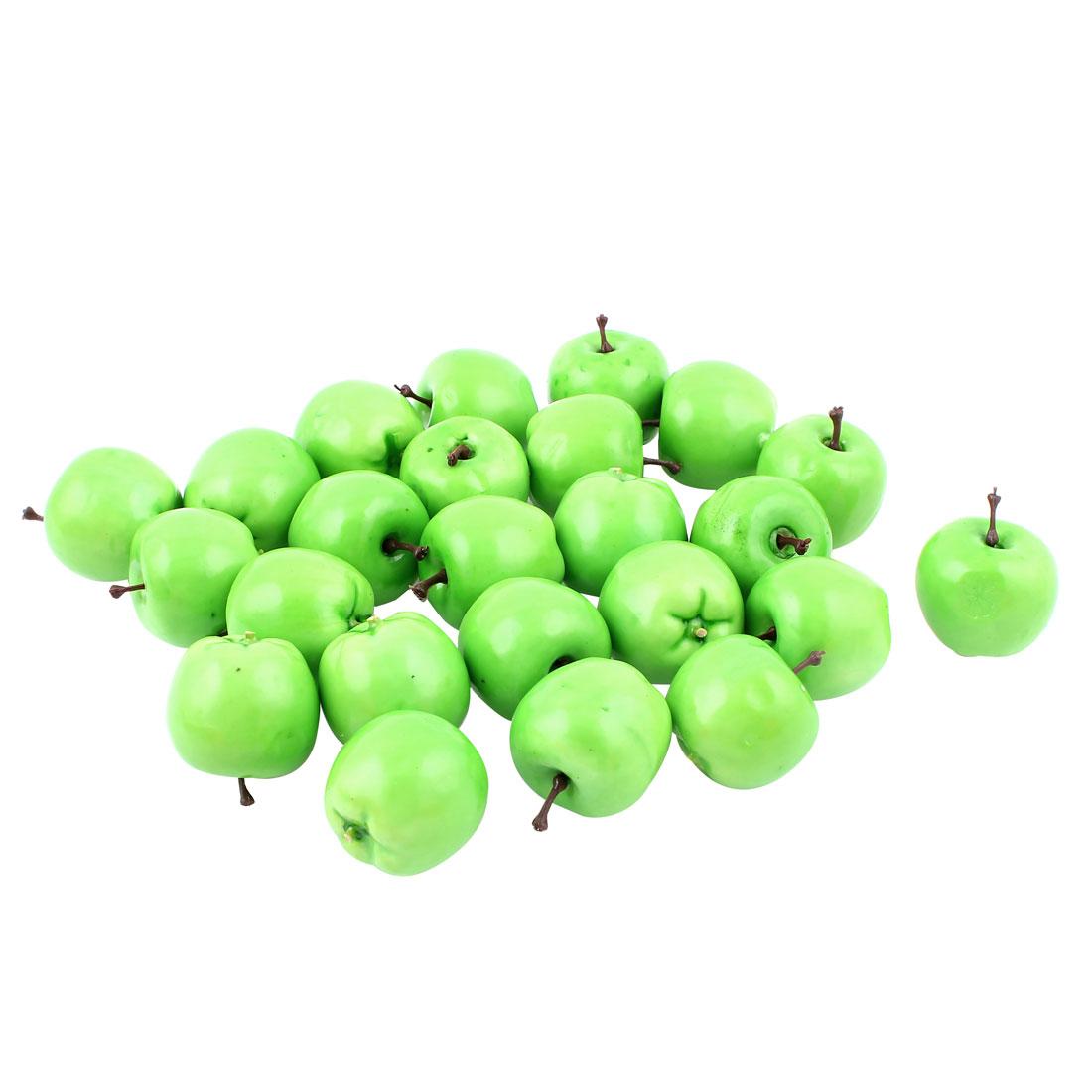24 Pcs Artificial Fake Plastic Mini Green Apple Fruit Kitchen Table Decoration