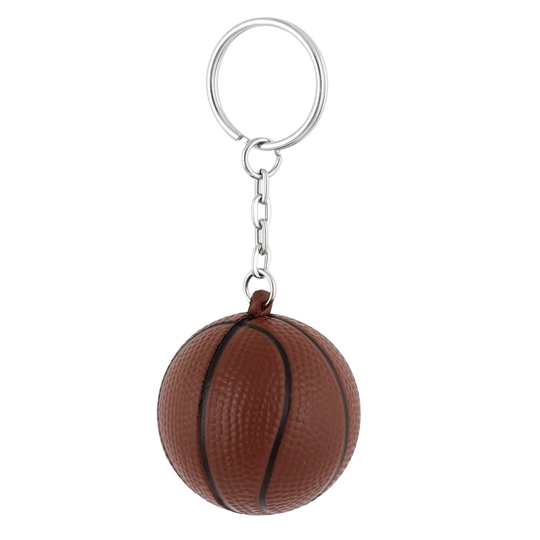 Rubber Basketball Shaped Pendant Split Ring Keychain Keyring Key Holder Brown