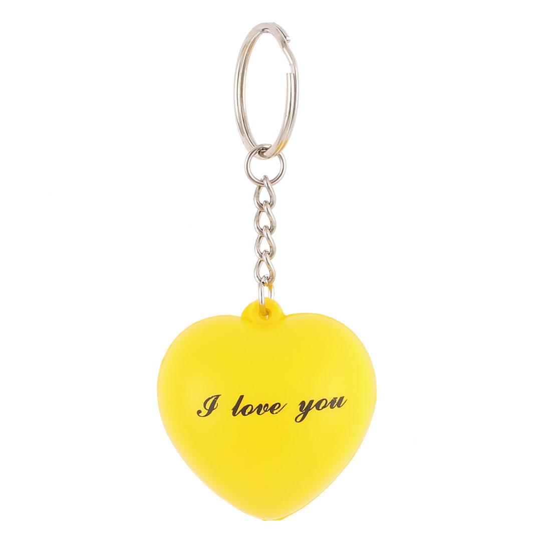 Rubber Heart Shaped Pendant Split Ring Keychain Keyring Key Holder Yellow Green