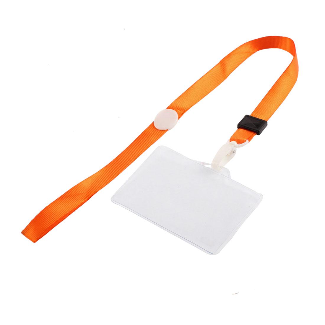 Plastic Horizontal Style Orange Neck Strap Office Name Position Card Holder