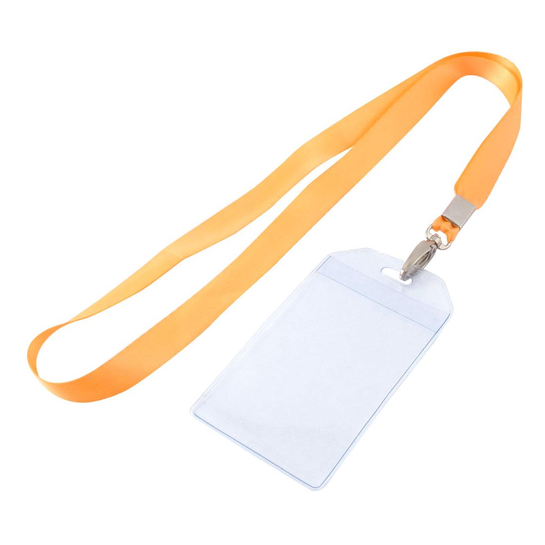 Lanyard Plastic Vertical ID Office Business Badge Card Holder Orange Clear