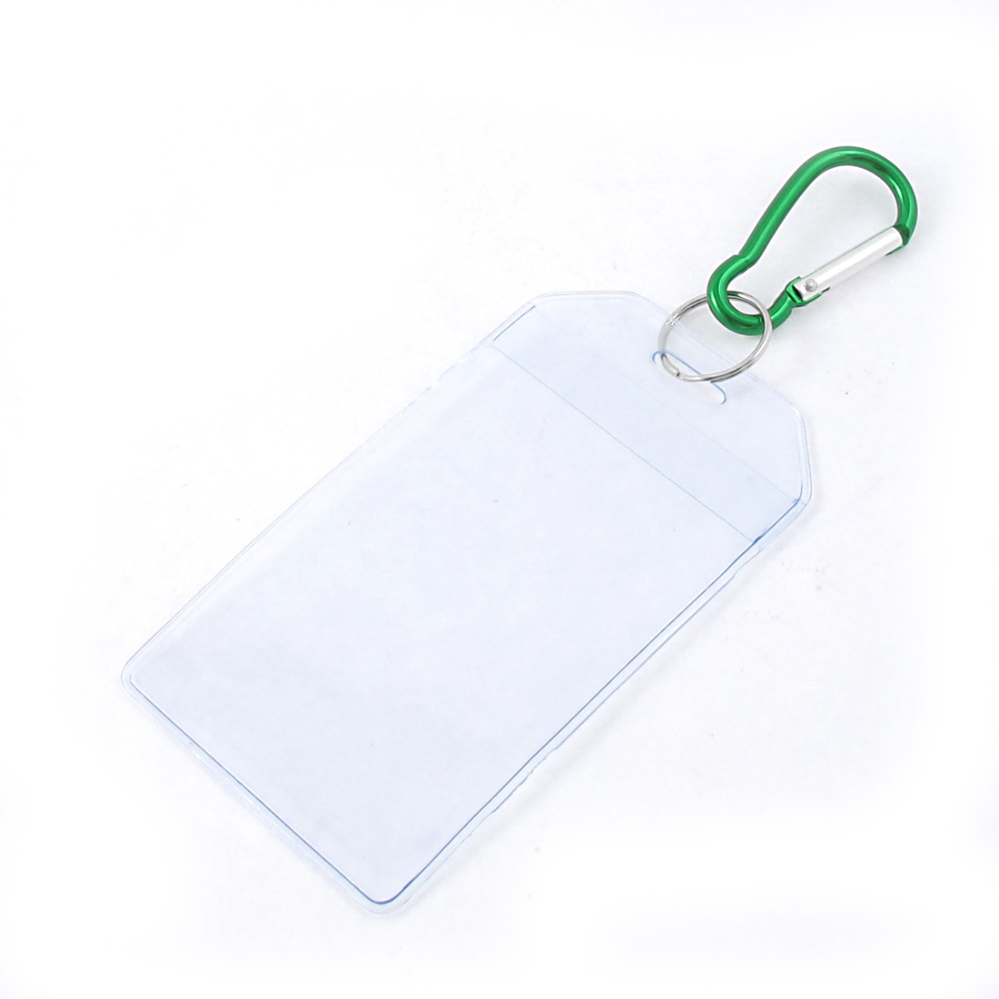 Office School Plastic Vertical Name ID Card Badge Holder Container Green Clear