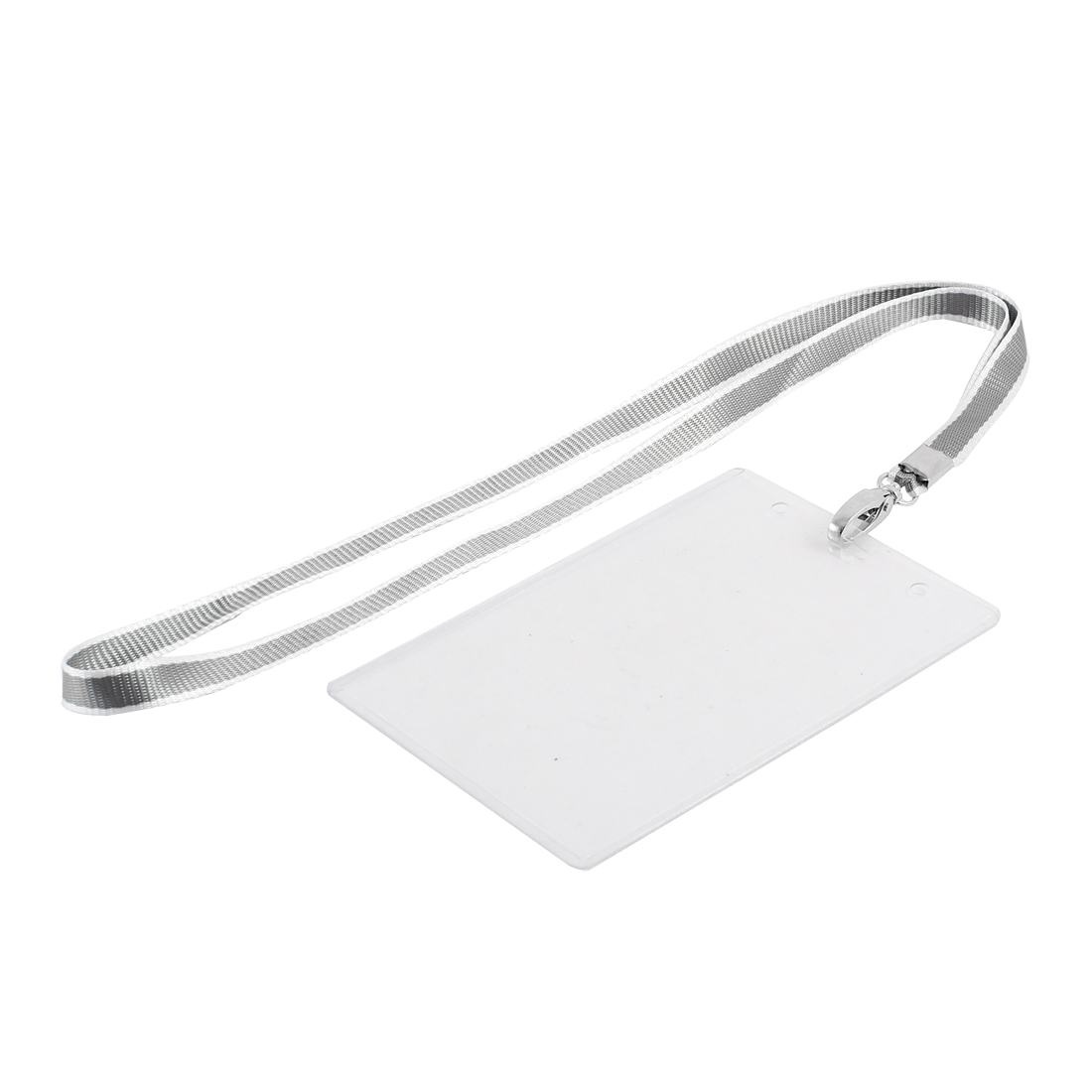 Plastic Vertical ID Office Exhibition Business Badge Card Holder Gray Clear