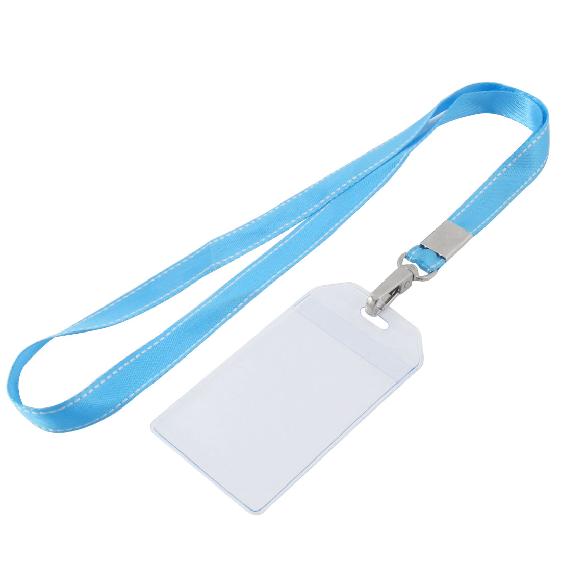 Lanyard Plastic Vertical ID Office Business Badge Card Holder Sky Blue Clear