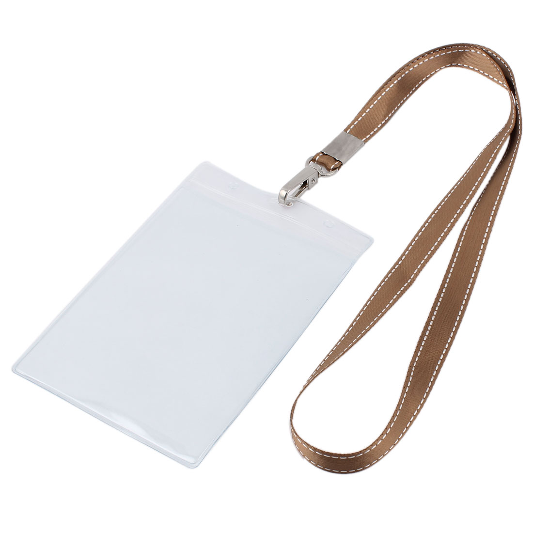 Plastic Vertical Style Brown Neck Strap Name Company Position Badge Card Holder