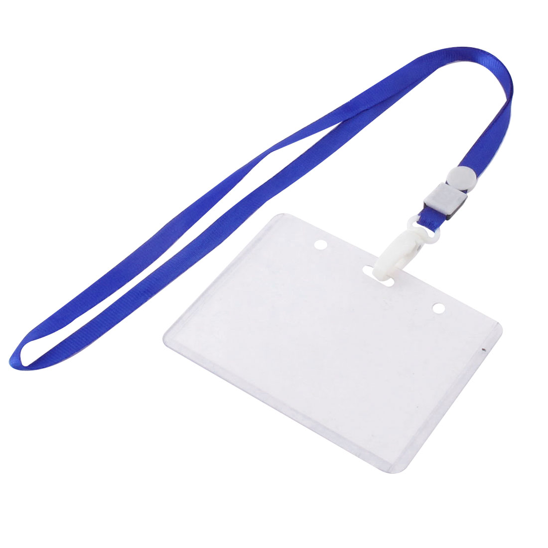 Neck Strap Plastic Horizontal ID Name Employee Card Tag Holder Blue Clear