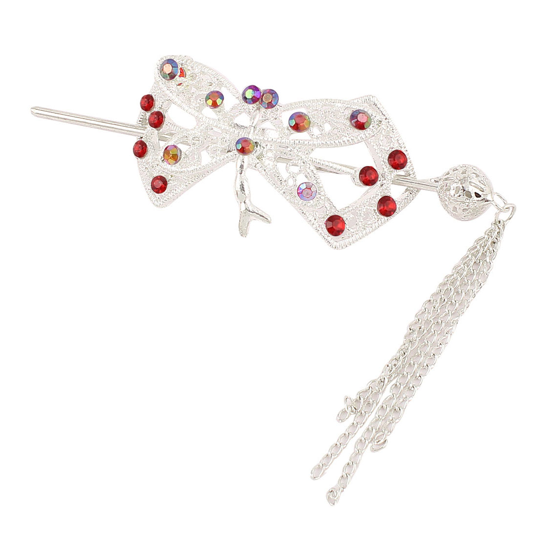 Wedding Red Rhinestone Inlaid Metallic Ponytail Hairpin Barrette Hair Stick