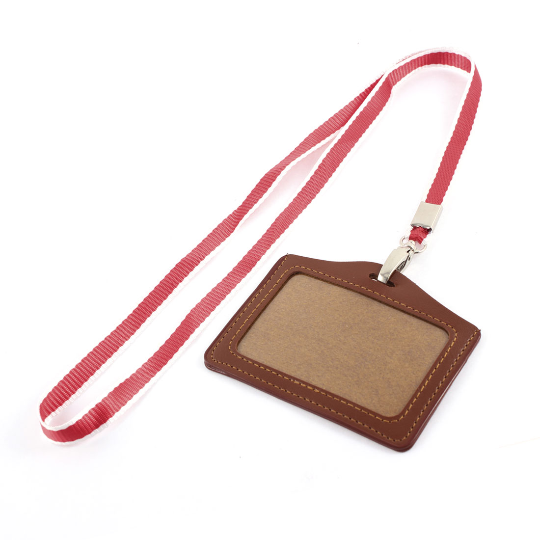 Faux Leather Horizontal Work School ID Card Badge Holder Brown w Red Neck Strap