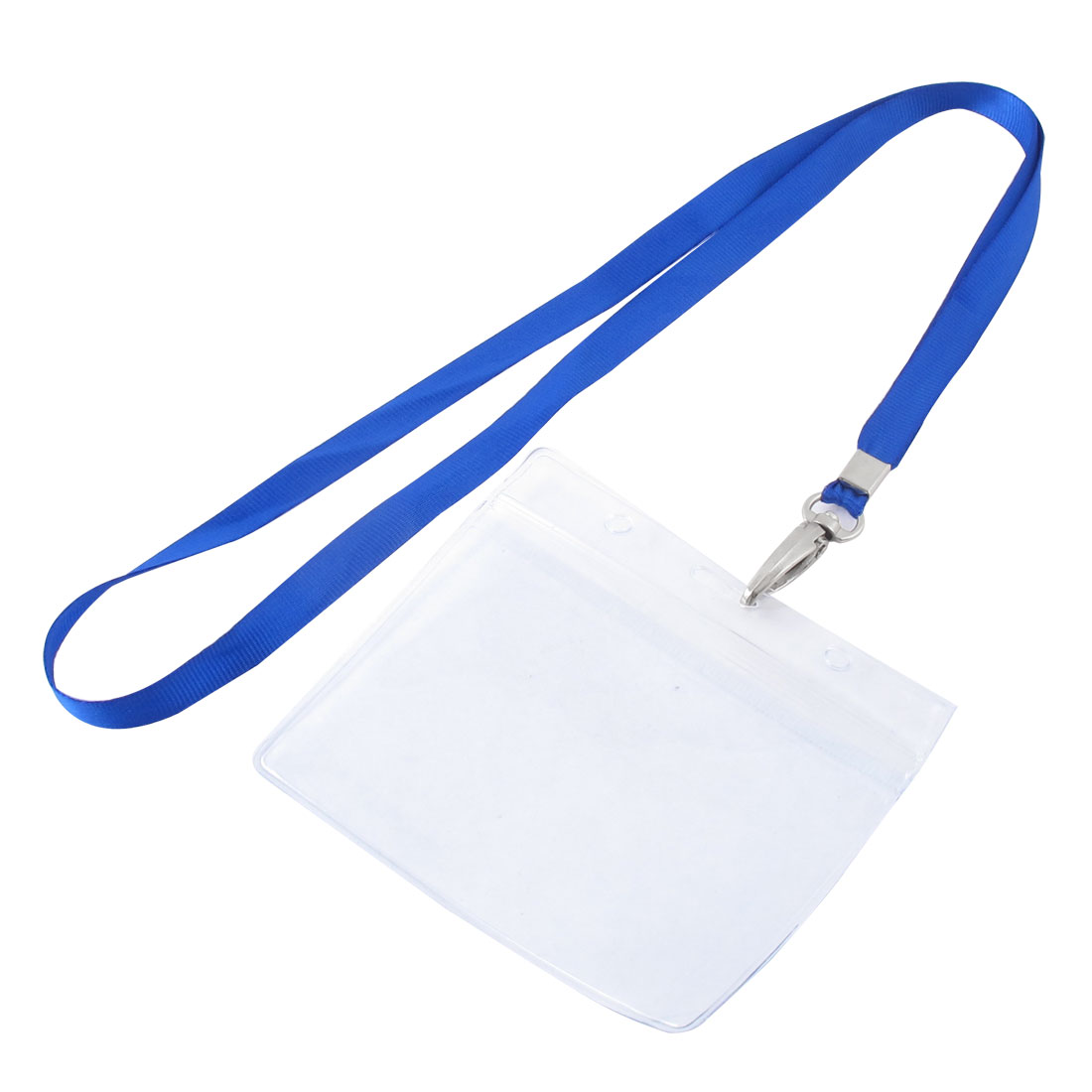 Lanyard Plastic Horizontal ID Office Employee Badge Card Holder Blue Clear