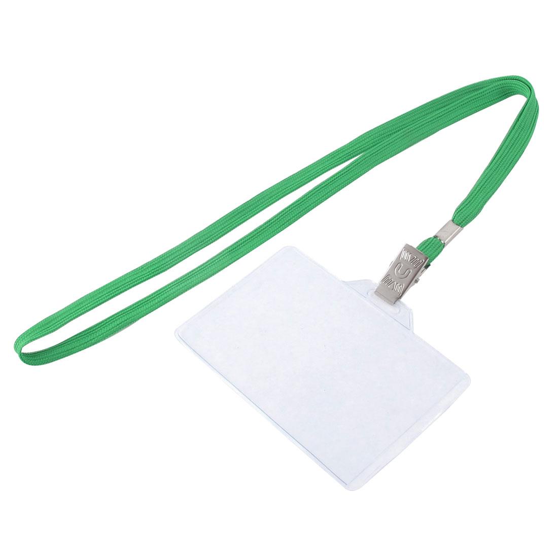 Lanyard Plastic Horizontal ID Name Employee Badge Card Holder Green Clear