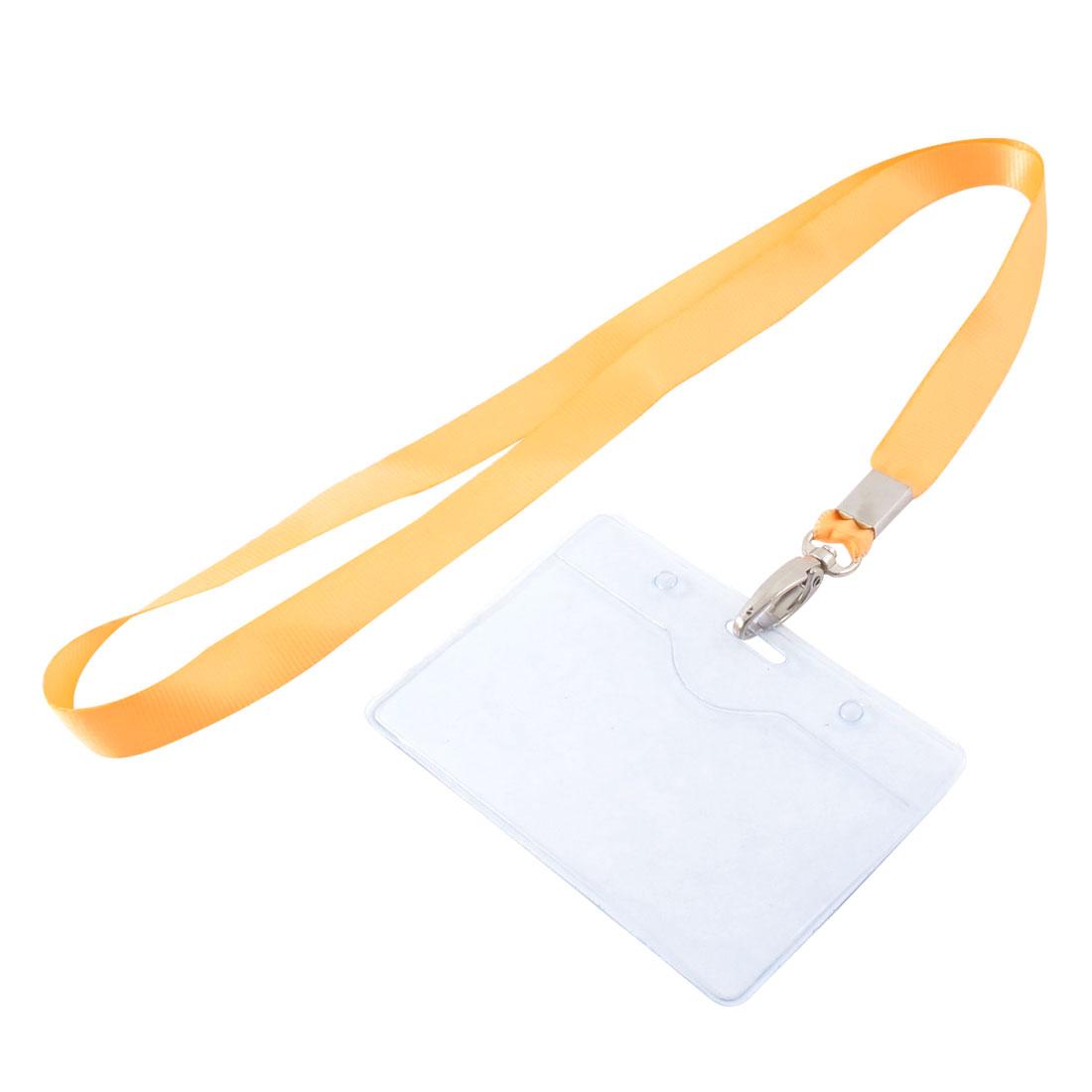 Neck Strap Plastic Horizontal ID Office Employee Badge Card Holder Orange Clear