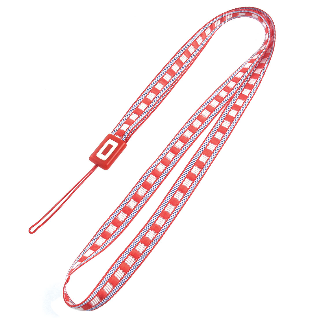 Fabric Plaid Pattern Cellphone MP4 Keyring String Strap Lanyard Red