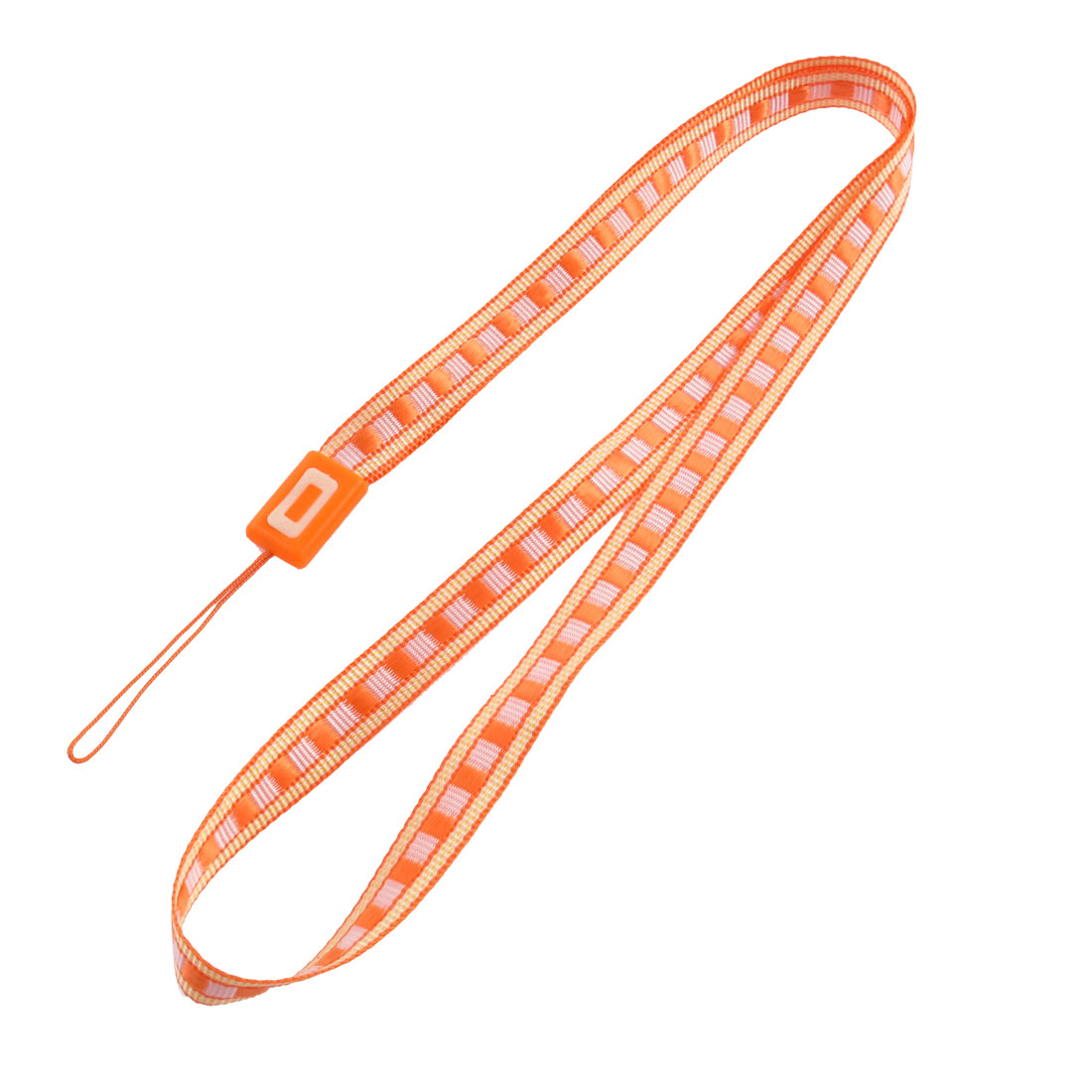 Fabric Plaid Pattern Cellphone MP4 Keyring String Strap Lanyard Orange
