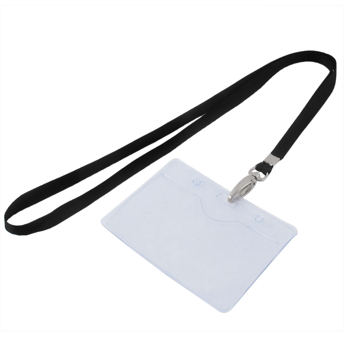 Lanyard Plastic Horizontal ID Work Employee Badge Card Holder Black Clear