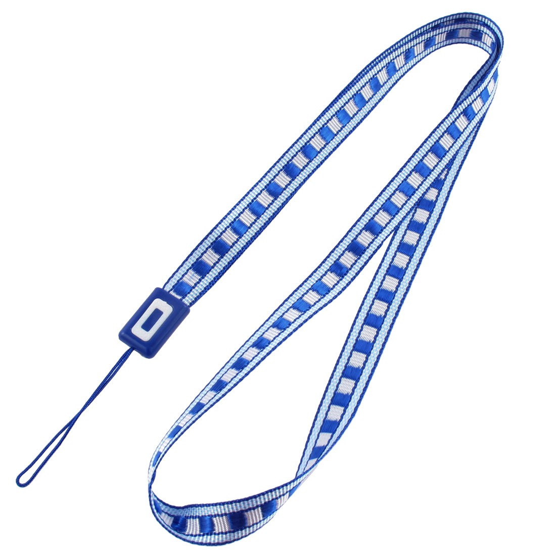 Fabric Plaid Pattern Cellphone MP4 Keyring String Strap Lanyard Blue