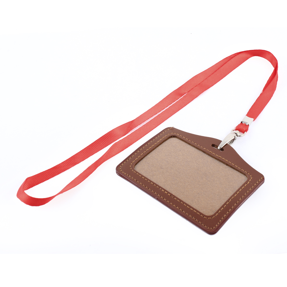 Neck Strap Faux Leather Horizontal Work School ID Card Badge Holder Brown Red