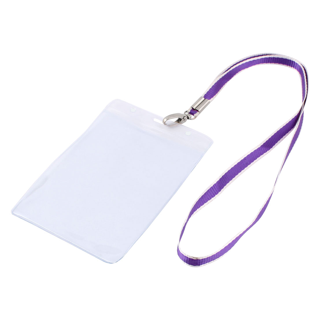 Plastic Vertical Style Purple Lanyard Name Company Position Badge Card Holder