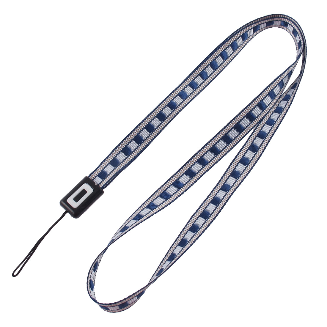 Fabric Plaid Pattern Cellphone MP4 Keyring String Strap Lanyard Deep Blue