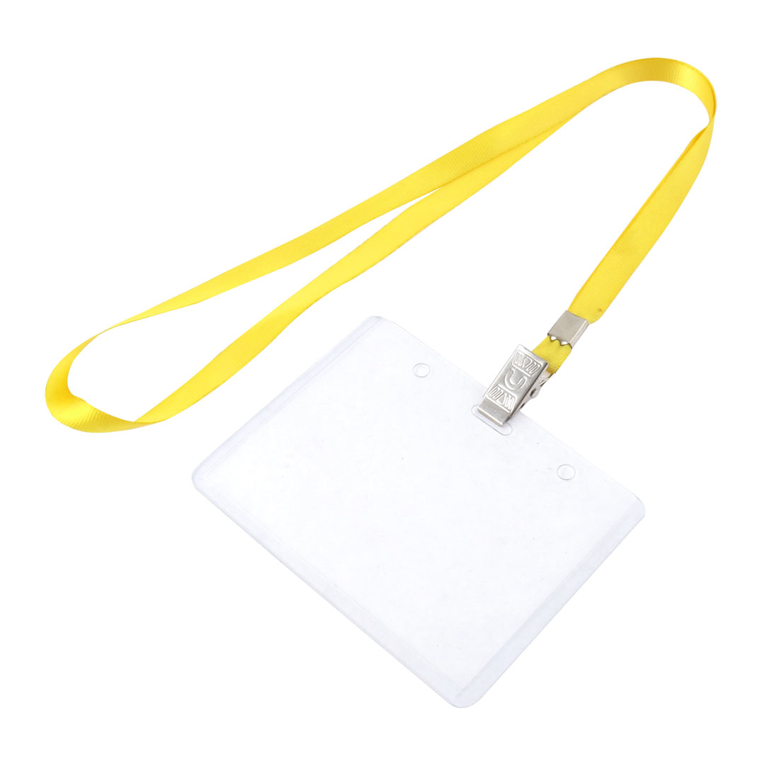 Neck Strap Plastic Horizontal ID Name Employee Card Tag Holder Yellow Clear