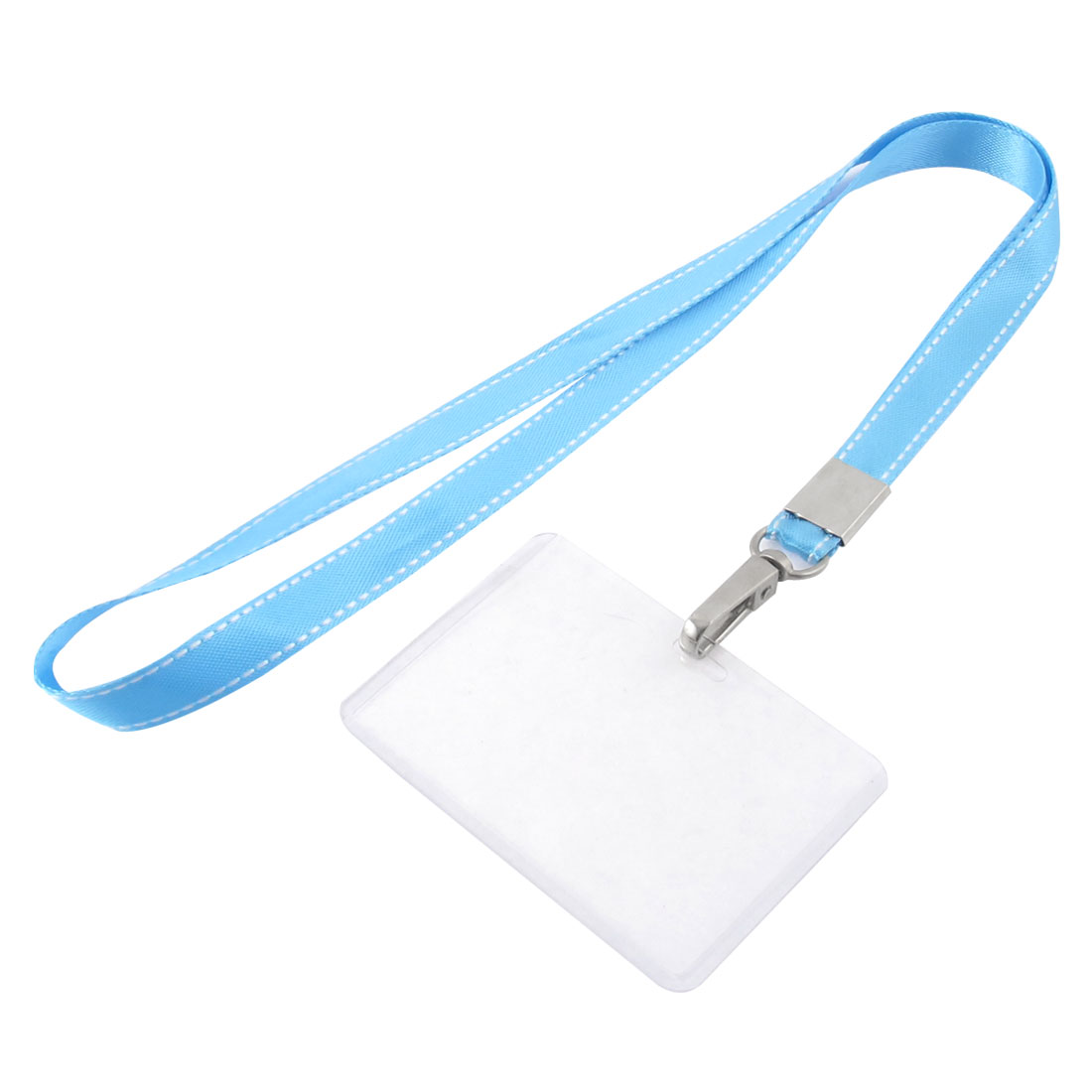 Lanyard Plastic Horizontal ID Name Employee Card Tag Holder Sky Blue Clear