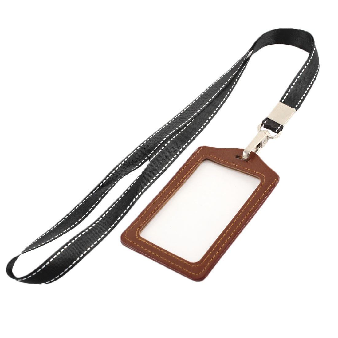 Lanyard Faux Leather Vertical Office Name ID Card Tag Badge Holder Brown Black