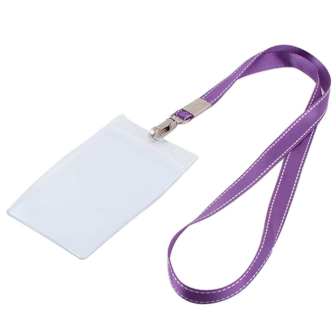 Plastic Vertical Style Purple Lanyard Name Exhibition Business Badge Card Holder