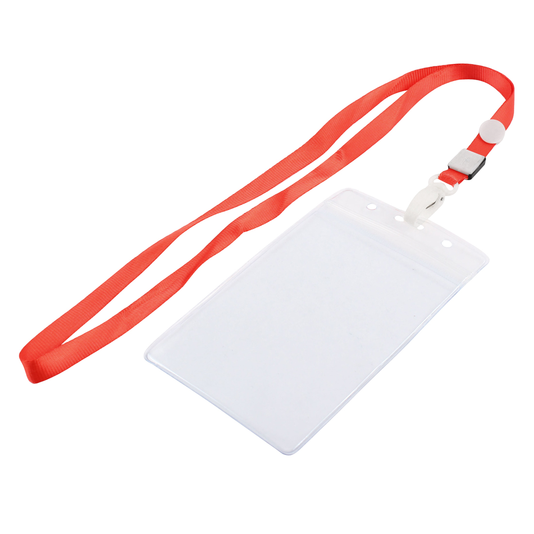 Neck Strap Plastic Vertical ID Office Business Badge Card Holder Clear Red