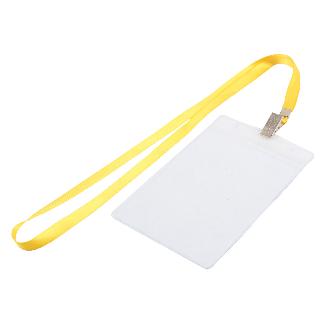 Clear Plastic Vertical ID Office Exhibition Badge Card Holder w Yellow Lanyard