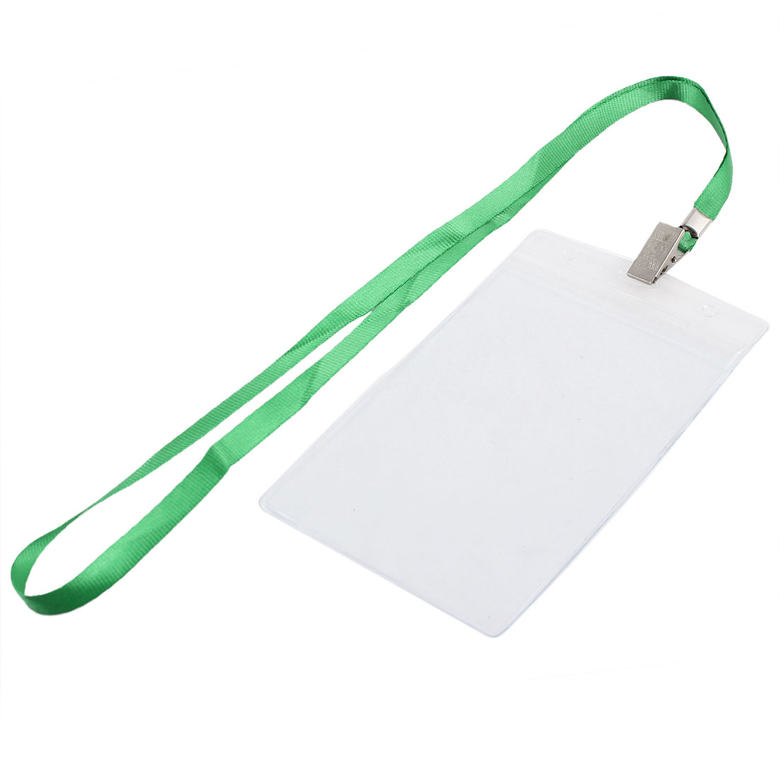 Clear Plastic Vertical ID Work Exhibition Badge Card Holder w Green Lanyard
