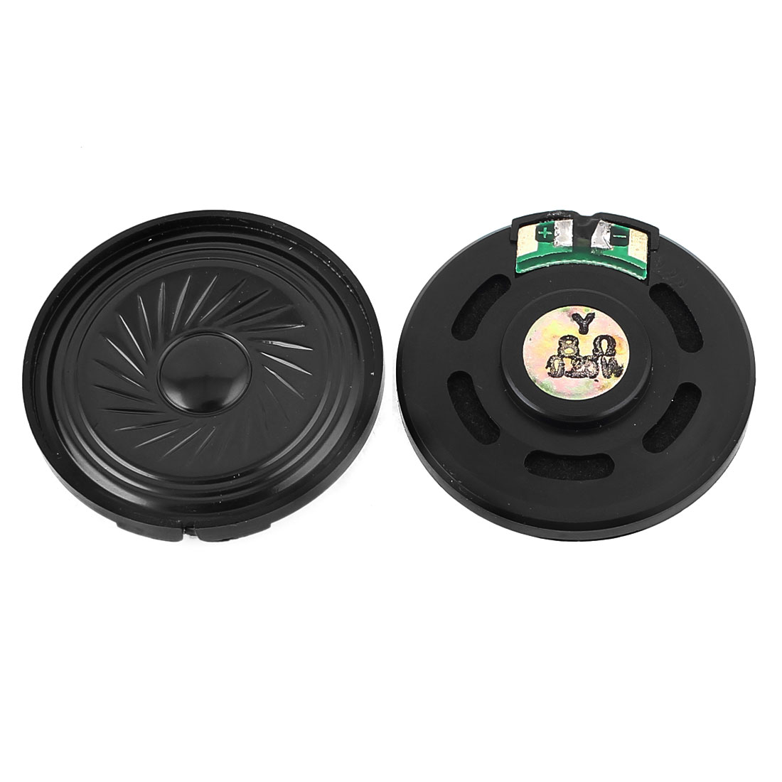 2 Pcs 0.25W 8 Ohm 40mm Round Inside Magnet Electronic Speaker Loudspeaker