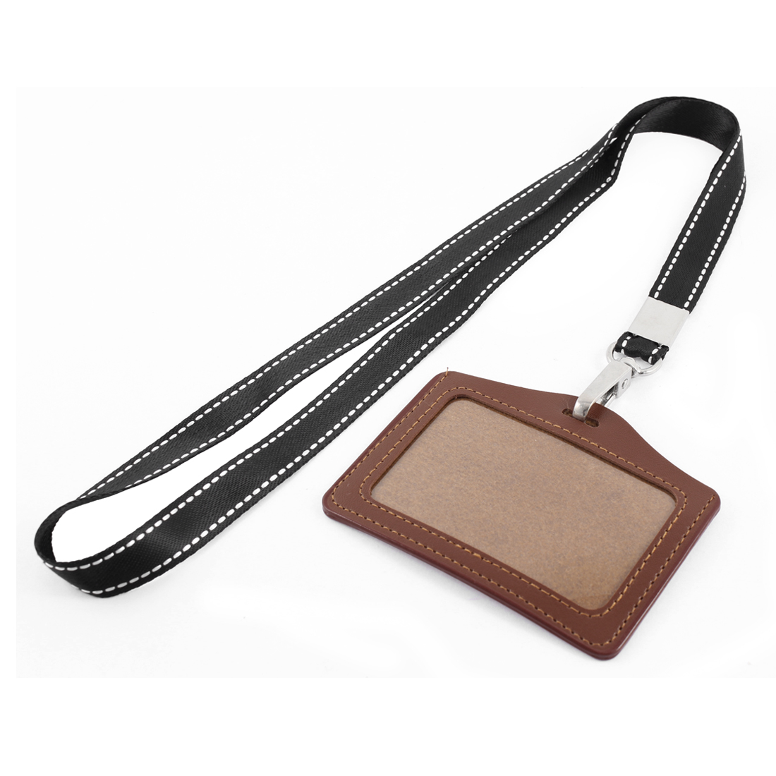 Neck Strap Faux Leather Horizontal Work School ID Card Badge Holder Brown Black