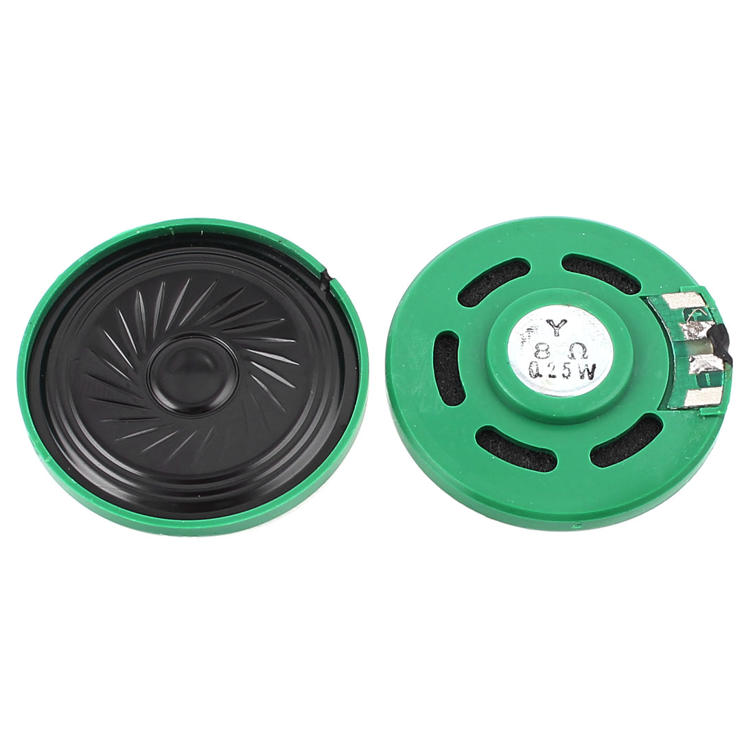 2 Pcs 0.25W 8 Ohm 40mm Inside Magnet Electronic Speaker Loudspeaker Green