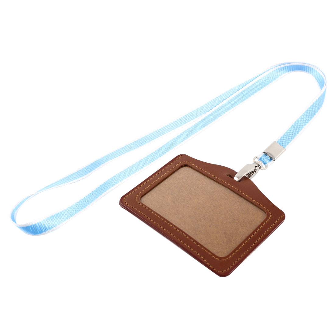 Faux Leather Horizontal Work School ID Card Badge Holder Brown w Blue Neck Strap