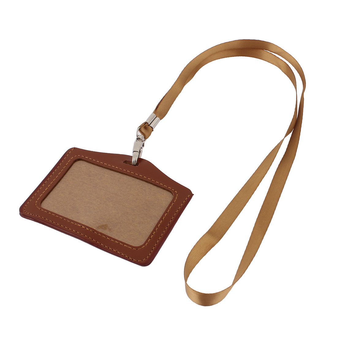 Faux Leather Horizontal Lanyard Company Position Name Badge Card Holder Brown
