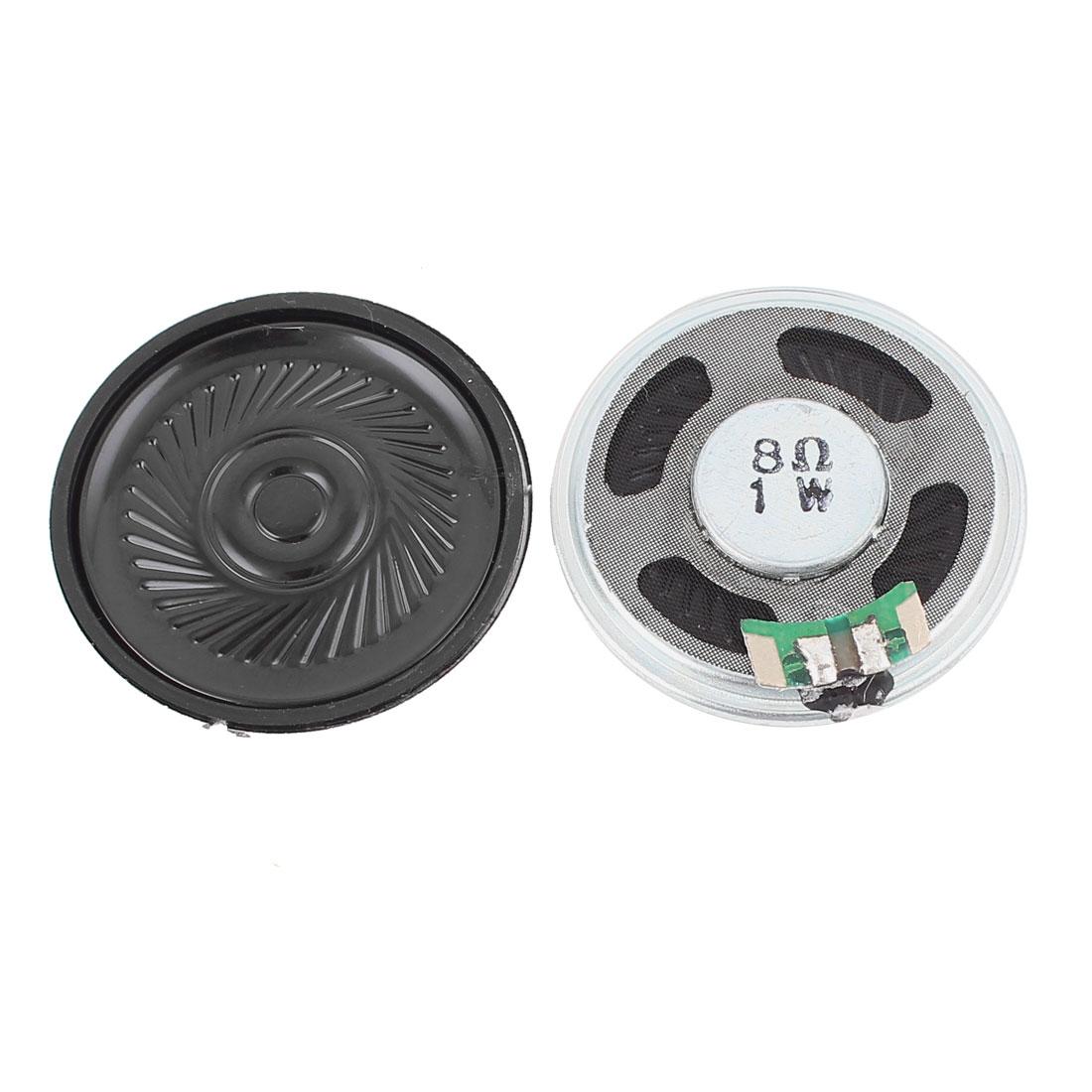 2 Pcs 0.1W 8 Ohm 40mm Round Inside Magnet Electronic Speaker Loudspeaker