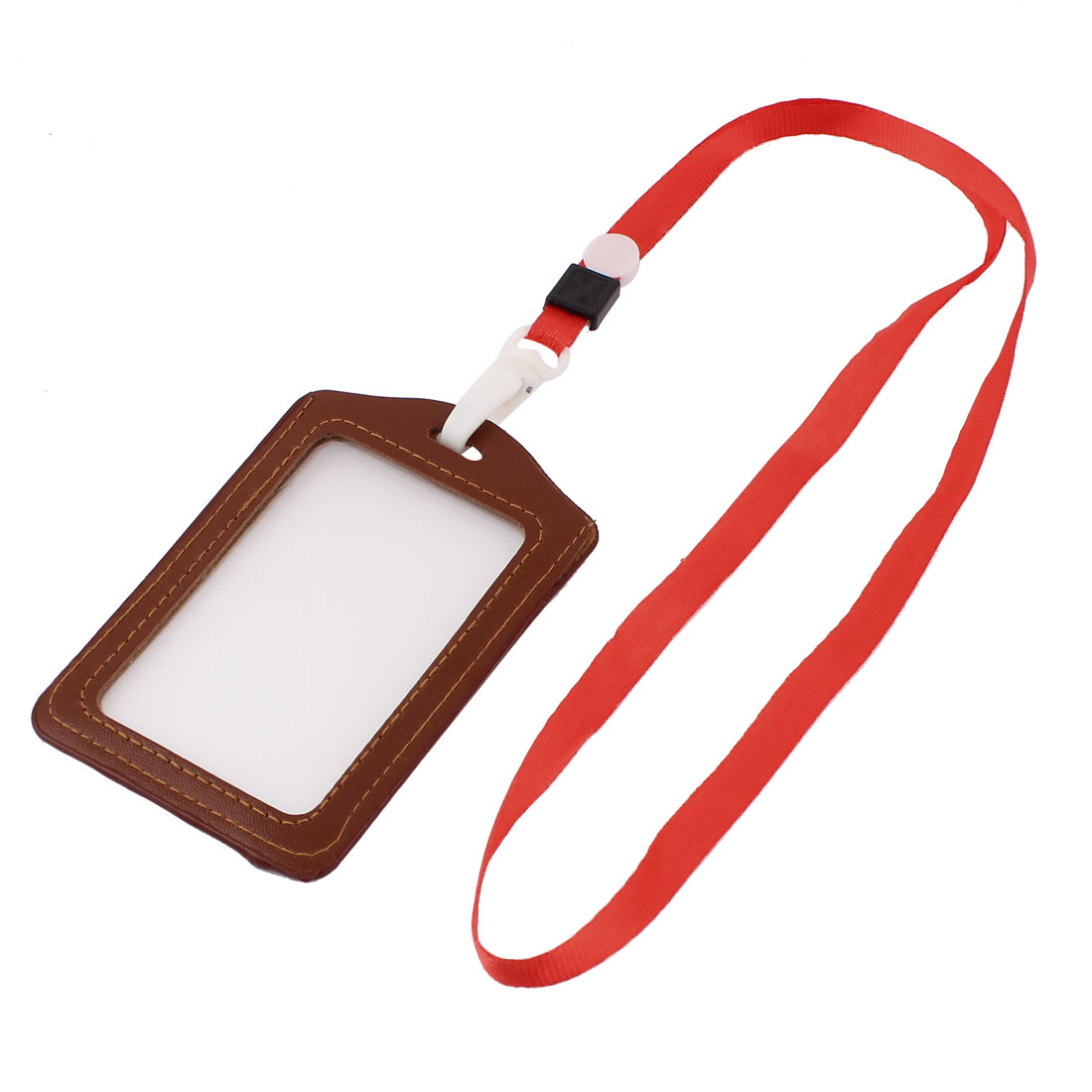 Faux Leather Vertical Lanyard Exhibition Name ID Card Badge Holder Brown Red