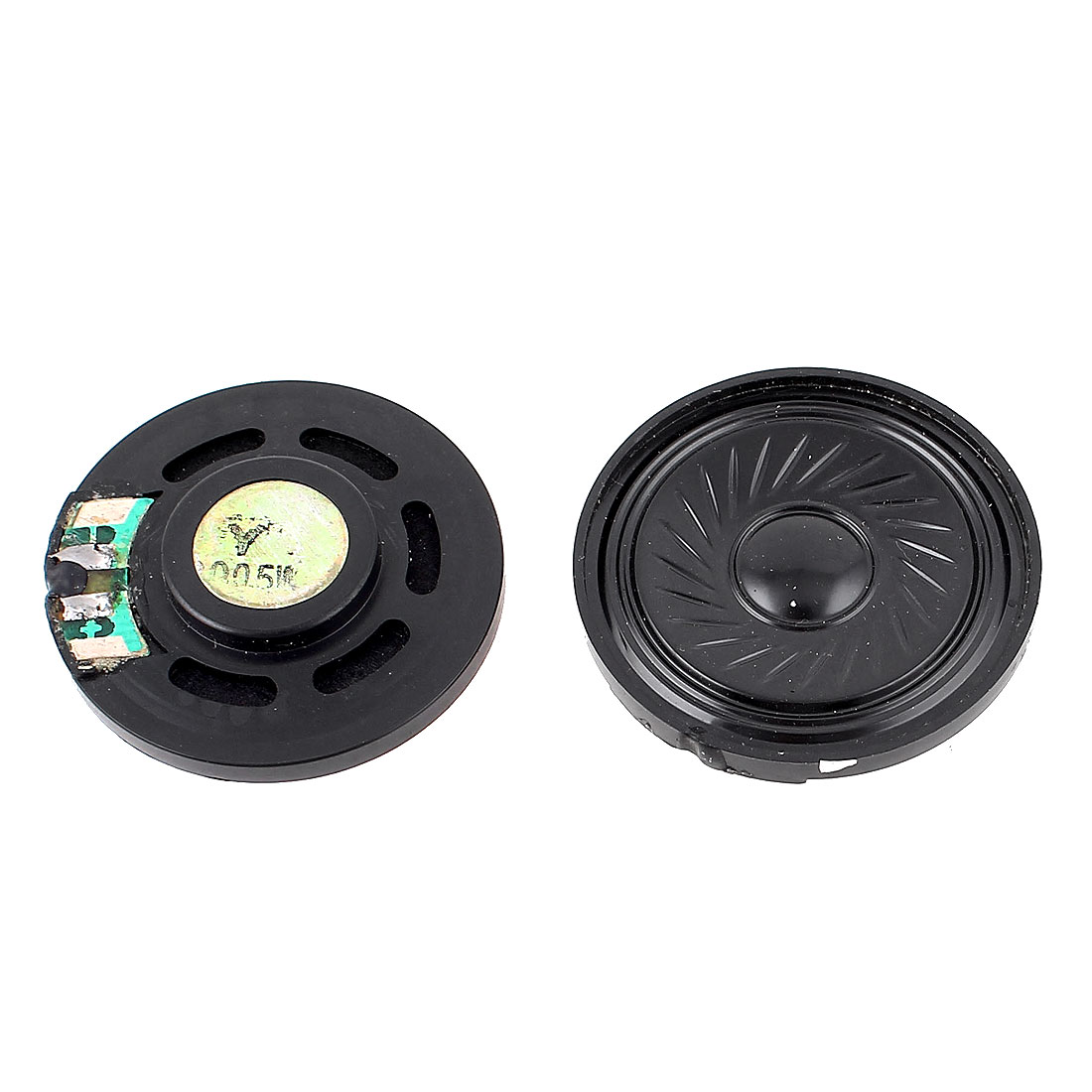 2 Pcs 0.5W 8 Ohm 36mm Round Inside Magnet Electronic Loudspeaker Black