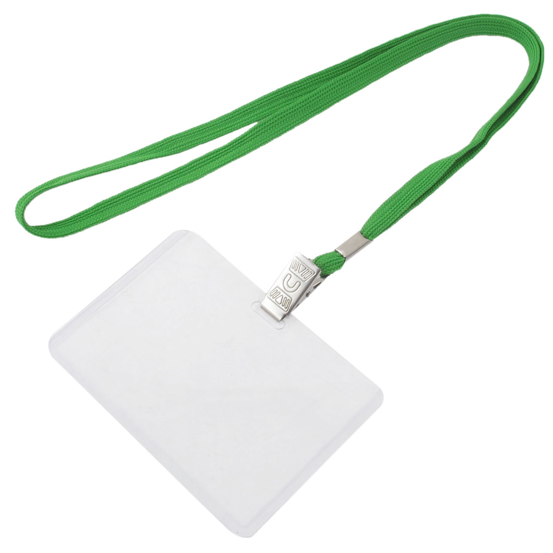 Neck Strap Plastic Horizontal ID Name Employee Card Tag Holder Clear Green