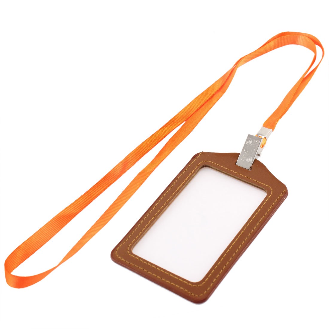 Neck Strap Faux Leather Vertical Work Name ID Card Badge Holder Brown Orange