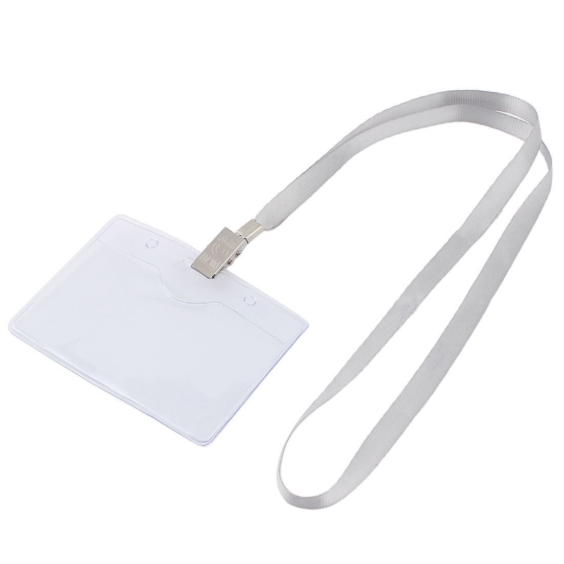 Plastic Horizontal Gray Neck Strap Name Company Position Badge Card Holder
