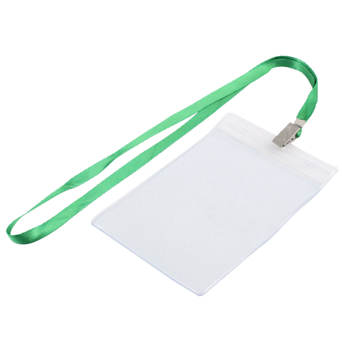 Clear Plastic Vertical ID Office Exhibition Badge Card Holder w Green Lanyard